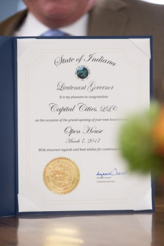 Office of the State of Indiana Lieutenant Governor Certificate of Congratulations